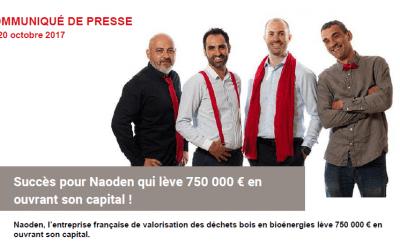 Succès pour Naoden qui lève 750 000 € en ouvrant son capital !